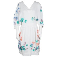 Fendi White Linen Cutout Detail V-Neck Dress S