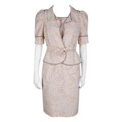 Fendi Blush Pink Perforated Patterned Dress and Shrug Set M