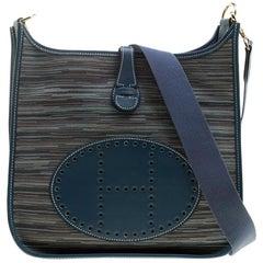 Hermes Blue Izmir Vibrato Multicolor Leather Evelyne I PM Bag