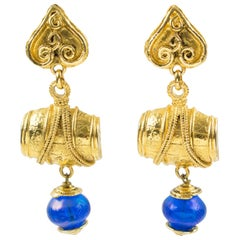 Mercedes Robirosa Paris Oversized Dangling Gilt Metal Blue Resin Clip Earrings