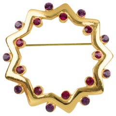 Yves Saint Laurent YSL Geometric Pin Brooch Gilt Metal Purple Red Rhinestones