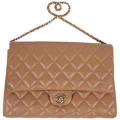 Chanel Quilted Clutch with Chain - beige