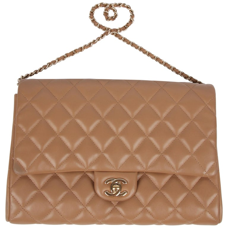 Chanel Quilted Clutch with Chain - beige For Sale