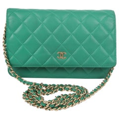 Chanel Wallet On Chain WOC Bag - green / silver