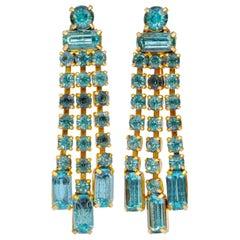 Gold Plated and Aqua Blue Rhinestone Dangle Earrings, circa 1950s