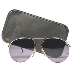 New Vintage Christian Dior Monsieur 2332 Gold Grey Sunglasses 1970's Austria