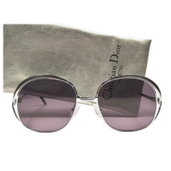 New Vintage Christian Dior 2145 Anthracite Silver Grey Sunglasses 1970's Austria