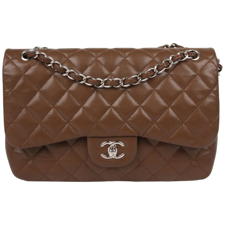 e4fbed73c4f Chanel 2.55 Timeless Jumbo Flap Bag - brown/silver For Sale at 1stdibs