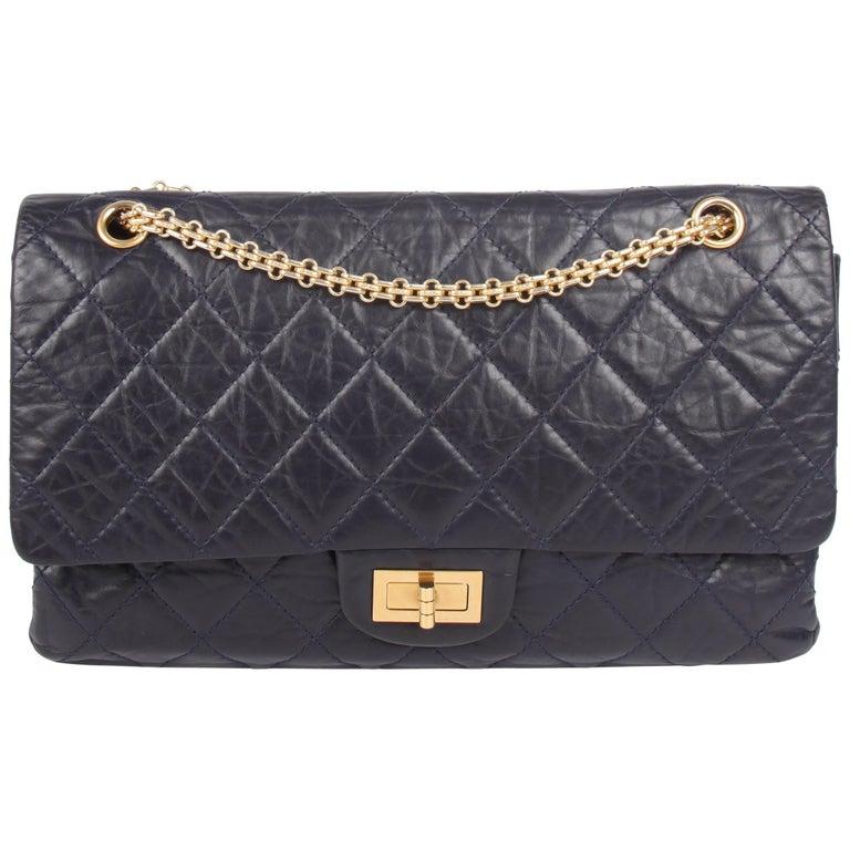 8ae8e3fe33c3 Chanel Reissue 2.55 Timeles Double Flap Bag 227 - dark blue at 1stdibs