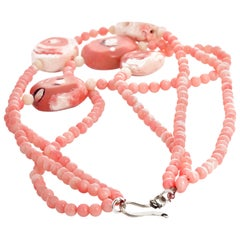 """Gemjunky BoHo Chic 17"""" Spectacular Triple-Strand PinkyPeachy Coral Necklace"""