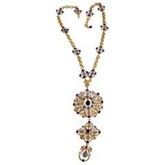 Gripoix Paris Long Blue Glass Statement Necklace