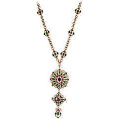 Gripoix Paris Long Multi Color Statement Necklace