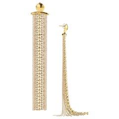 Goossens Paris Pierced Ball Chain Tassel Statement Earrings