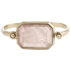 Goossens Paris Pale Gold and Pink Quartz Hinge Bracelet