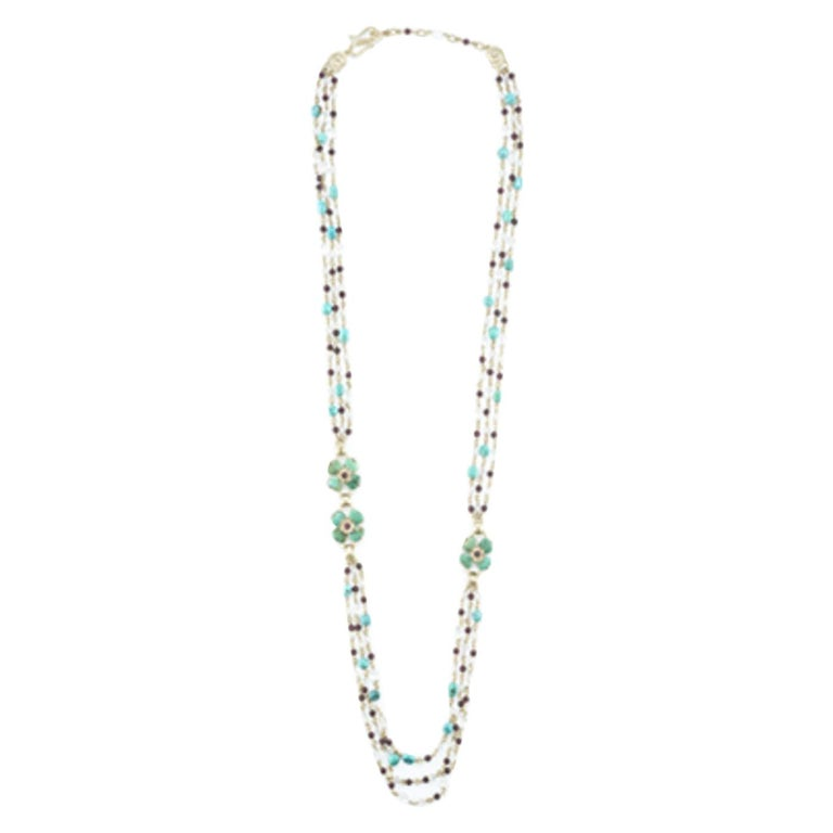 Turquoise, Garnet, Rock Crystal, and Pearl Clover Necklace For Sale