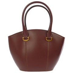 Cartier Burgundy Wine Leather Charm Small Top Handle Satchel Tote Bag in Box