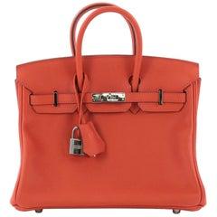 Hermes Birkin Handbag Capucine Swift with Palladium Hardware 25, crafted fr