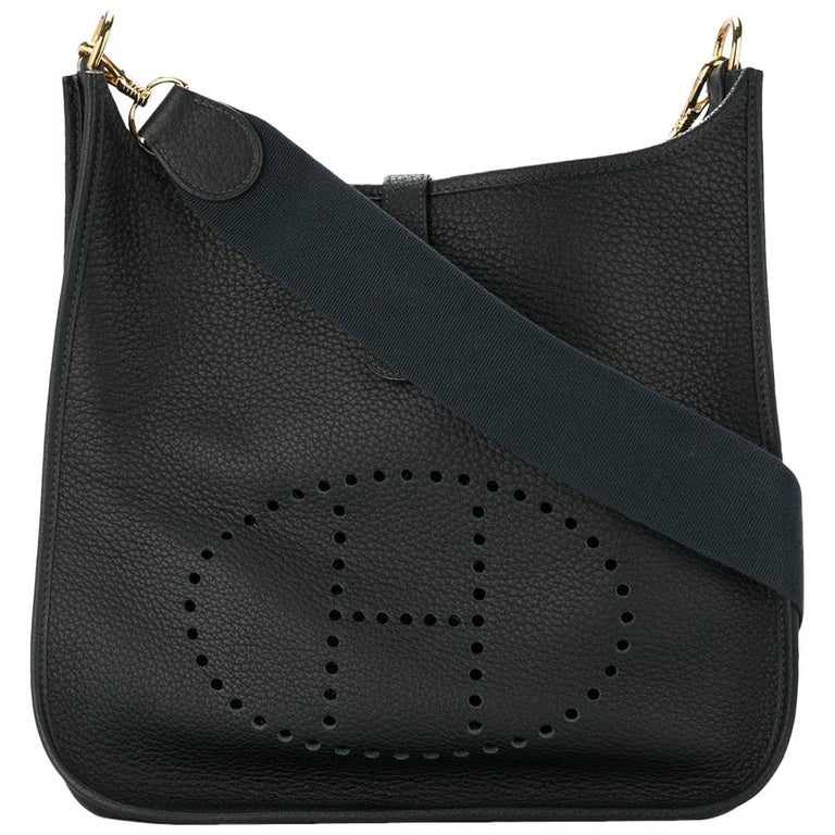Hermes Black Leather Canvas