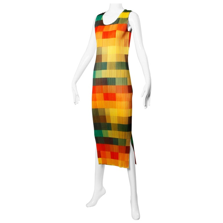 Issey Miyake Vintage Pleats Please Avant Garde Checkered Maxi Dress For Sale