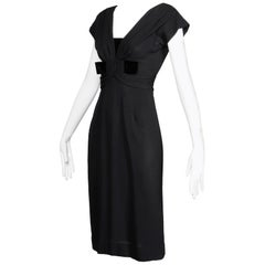 1950s Dorothy O'Hara Vintage Black Crepe + Velvet Cocktail Sheath Dress