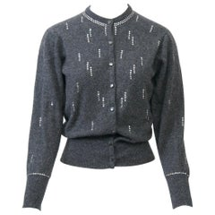 Charcoal Vintage Cardigan with Rhinestones