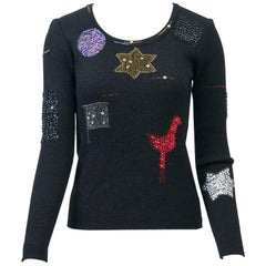 Hanae Mori Decorated Pullover Sweater