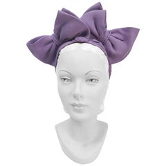 1930s Lavender Crepe Turban with Matching Bows
