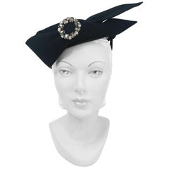 1950s Black Fur Felt Cocktail Hat with Oversized Bow and Rhinestone Accent