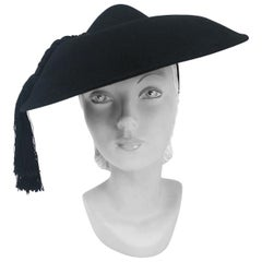 1940s Black Fur Felt Wide-Brimmed Hat With Silk Cord Tassels