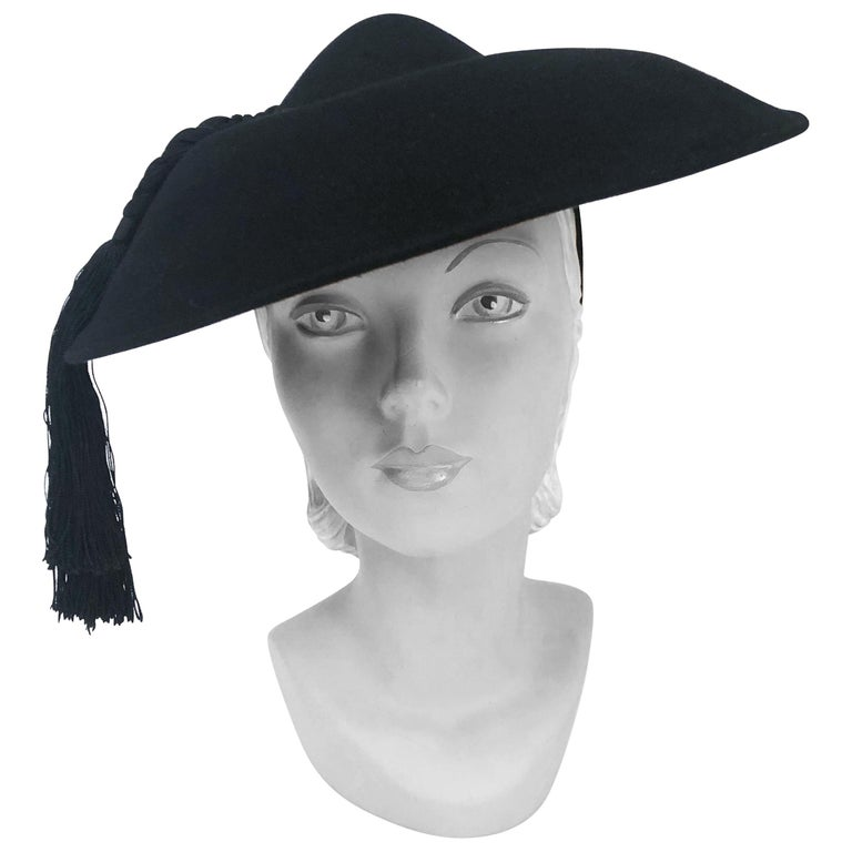 1940s Black Fur Felt Wide-Brimmed Hat With Silk Cord Tassels For Sale