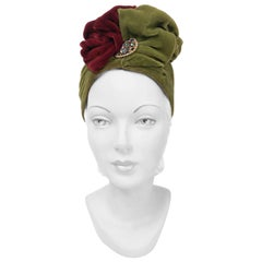 1930s Green and Cranberry Silk Velvet Turban