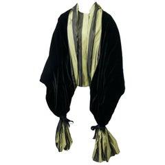 Striped Silk Blouse with Velvet Shawl