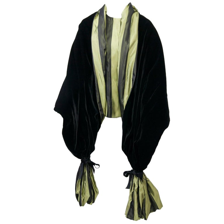 Striped Silk Blouse with Velvet Shawl For Sale