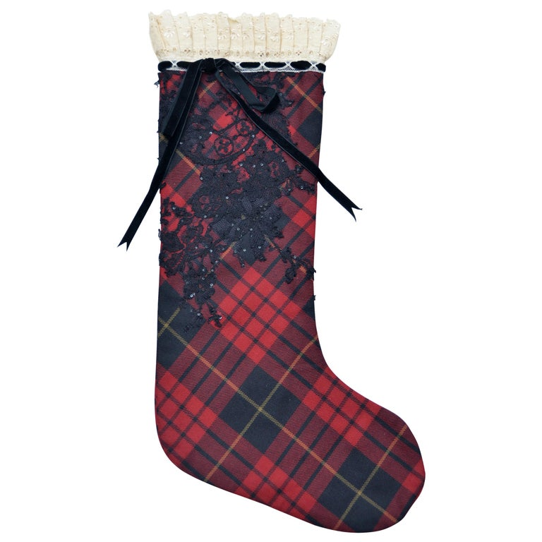 ONE OF A KIND  Alexander McQueen  Designer Tartan Christmas Stocking 2006  For Sale