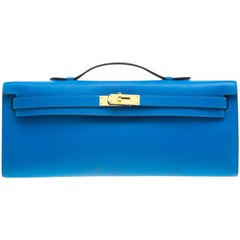 Hermes Blue Izmir Swift Leather Gold Hardware Kelly Cut Clutch