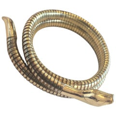 Art Deco 9ct gold snake serpent bangle bracelet