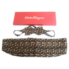 Salvatore Ferragamo Silk Insect Cummerbund & Bow Tie Set in Ferragamo Box c 1990