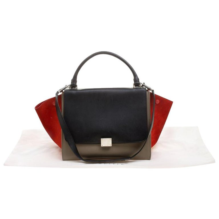 3d36618bb636 Celine Tri Color Leather and Suede Medium Trapeze Bag at 1stdibs