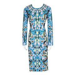 Peter Pilotto Graphic Print Compact Jersey Fitted Start Dress L