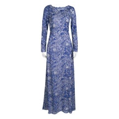 Tadashi Shoji Blue and White Floral Embroidered Long Sleeve Gown S