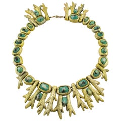 Mary Oros 1980s Oversized Cast Resin Choker Necklace with Turquoise Cabochon