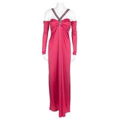 Blumarine Pink Knit Embellished Off Shoulder Maxi Dress M