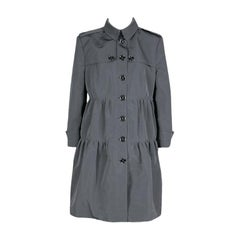 Burberry London Grey Three Quarter Sleeve Button Front Dress Coat L