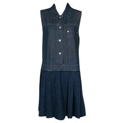 Miu Miu Indigo Dark Wash Colorblock Denim Sleeveless Pleated Dress M