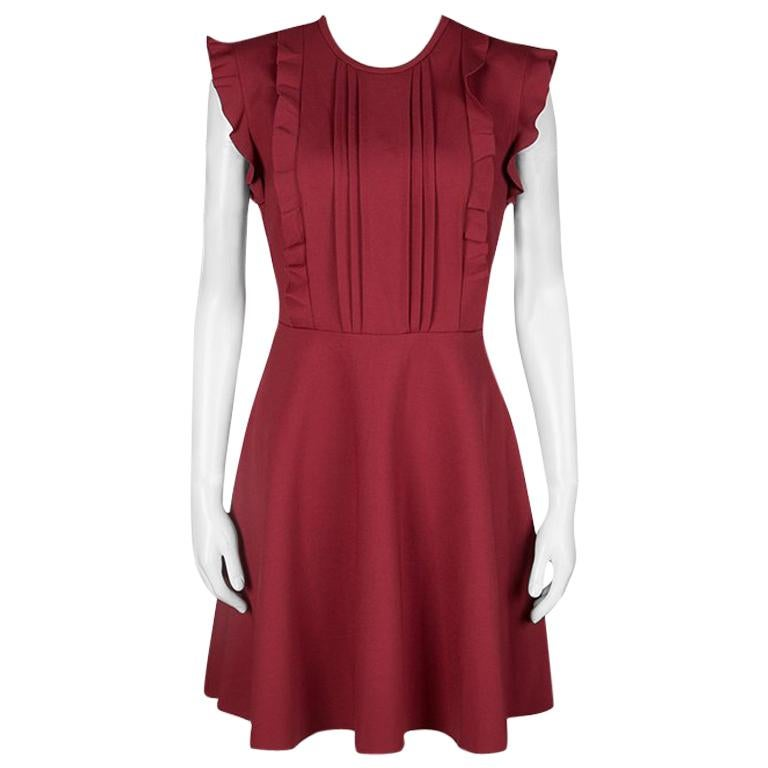48df045fd1f RED Valentino Red Jersey Ruffled Pintuck Detail Fit and Flare Mini Dress M  For Sale at 1stdibs