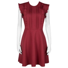 RED Valentino Red Jersey Ruffled Pintuck Detail Fit and Flare Mini Dress M