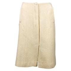 2003 Chanel Cream Wool A-Line Skirt