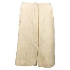 2003 Chanel Cream Wool A-Line Skirt
