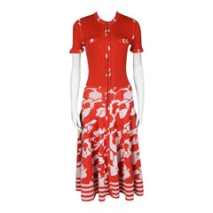 Chanel Orange and White Floral Knit Zip Front Dress M