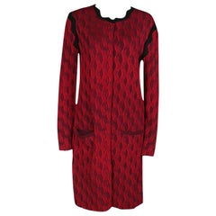 Mary Katrantzou Red Jacquard Contrast Trim Long Powden Cardigan M